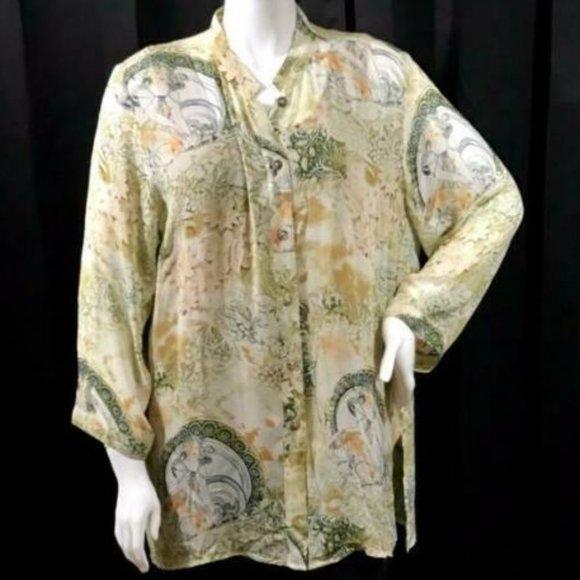 SANTA MONICA Silk Print 3/4 Sleeve Tunic Blouse